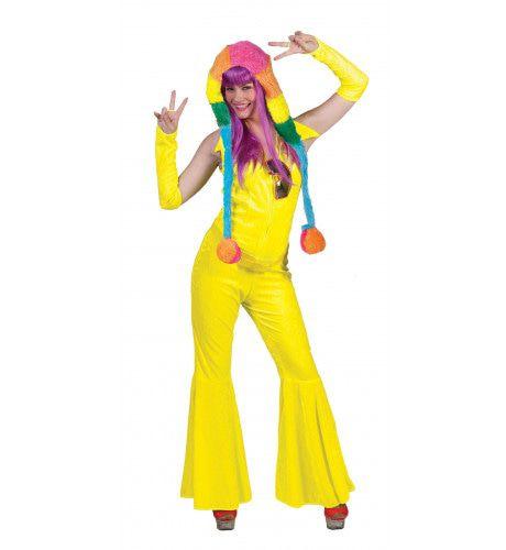 Neon Geel Jumpsuit Vrouw Kostuum
