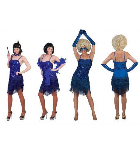 Glitter Fancy Flapper Jurk Blauw Vrouw