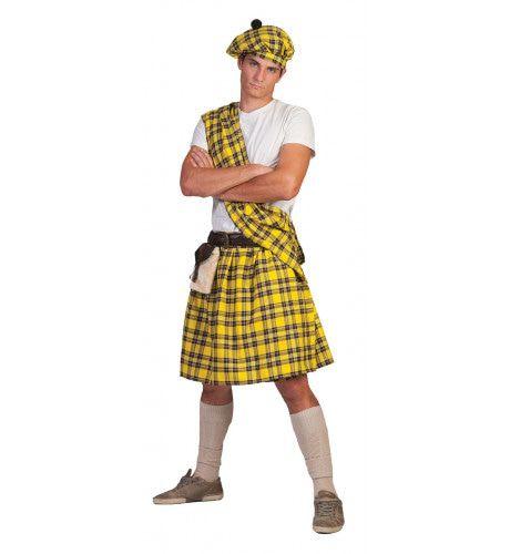 Gele Schotse Highlander Tartan Man Kostuum