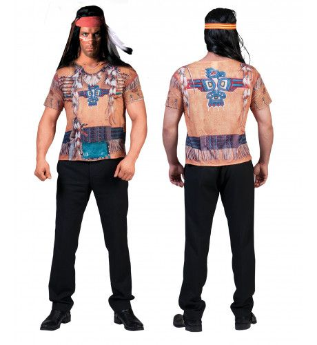 3d Shirt Indiaan Man Kostuum