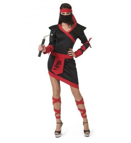 Ninja Strijder Vol Doodsverachting Vrouw Kostuum