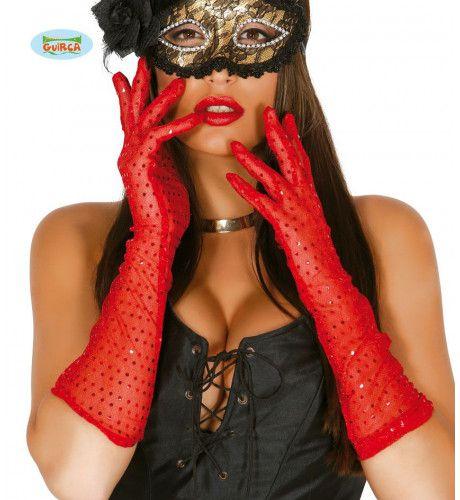 Doorzichtige Glitter Handschoenen Rood 42 Centimeter