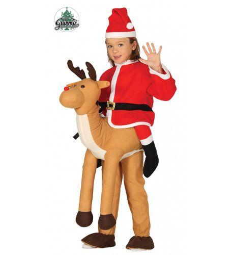 Kerstman Op Rendier Kind Kostuum