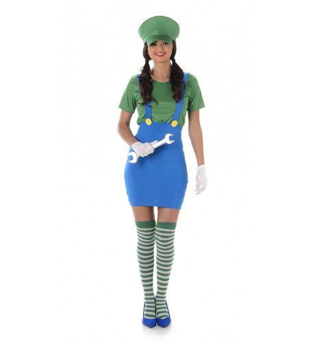 Zusje Van Luigi Computerspel Vrouw Kostuum