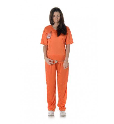 Veroordeelde Crimineel Gevangenis Cel Vrouw Kostuum