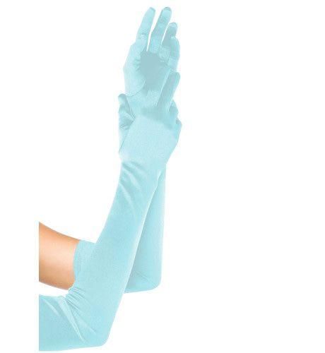 Extra Lange Satijnen Handschoenen Blauw