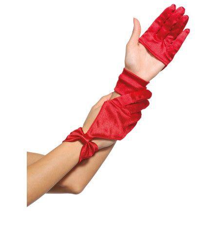 Satijnen Halve Handschoenen Met Strik-Detail Rood
