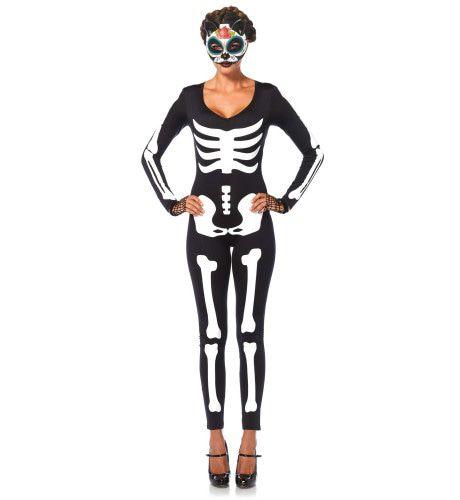 Sexy Skelet Catsuit Vrouw Kostuum