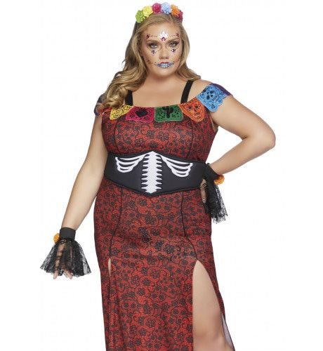 Dulcea Deluxe Day Of The Dead Mexico Plus Size Vrouw Kostuum