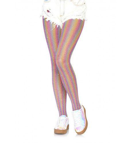 Glinsterende Regenboog Visnet Panty Roze