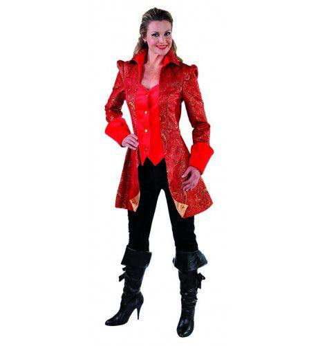 Met Brokaat Versierde Mantel En Vest Hertogin Rood Vrouw Kostuum