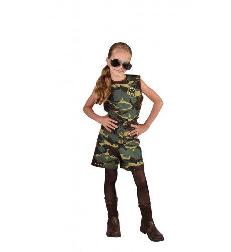 Camouflage Commando Girl Meisje Kostuum