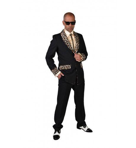 Zwart Foute Pooier Rosse Buurt Colbert Met Luipaard Details Man