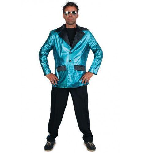 Disco Fever Smoking 2delig Turquoise Man Kostuum