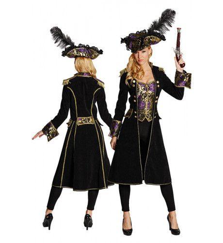 Mary Read Piraten Jas Brokaat Zwart Vrouw Kostuum