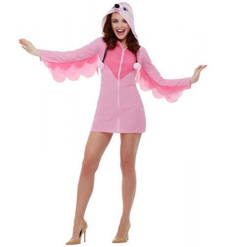 Sexy Roze Flamingo Op Twee Poten Vrouw Kostuum