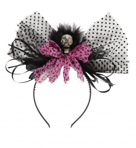 Classy Halloween Haarband Schedel Met Rose Strik