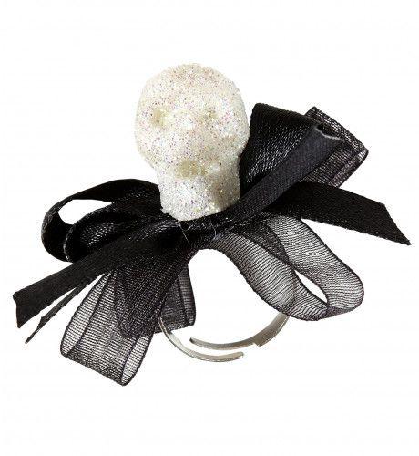 Fancy Ring Glitter Schedel Met Strikje