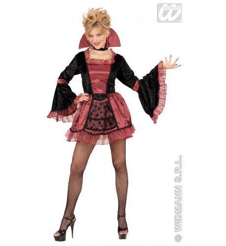 Korte Gotische Vamp Kostuum Vrouw
