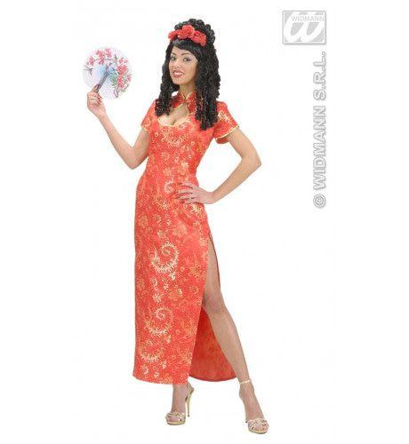 Elegante Chinese Dame Rood Waaier Kostuum Vrouw