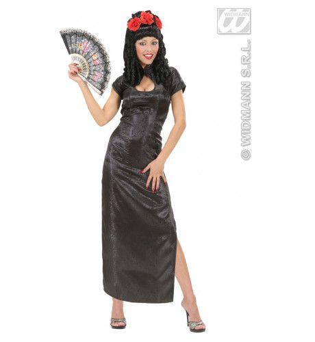 Elegante Chinese Dame Zwart Kostuum Vrouw