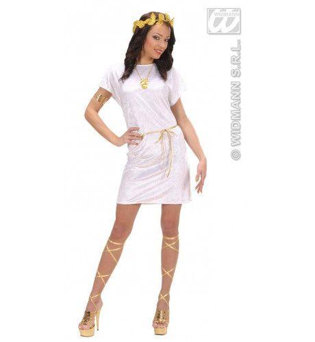 Griekse Of Romeinse Tuniek Wit Met Gouden Riem Kostuum Man