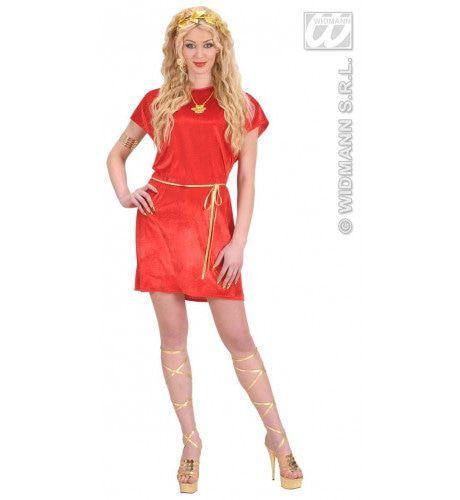 Griekse Of Romeinse Tuniek Rood Met Gouden Riem XL Kostuum Man