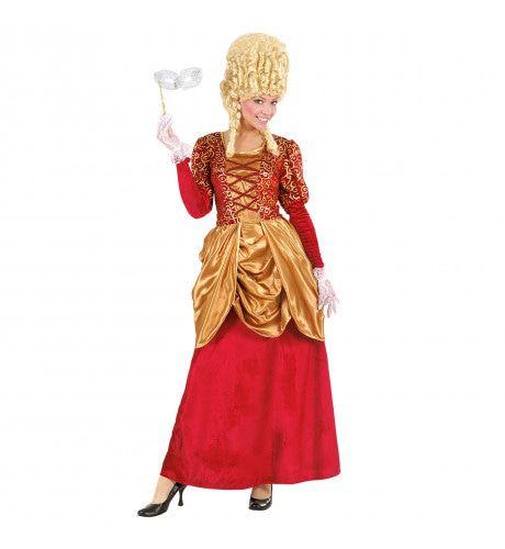 Elegante Markiezin Fluweel Bordeaux Rood Kostuum Vrouw