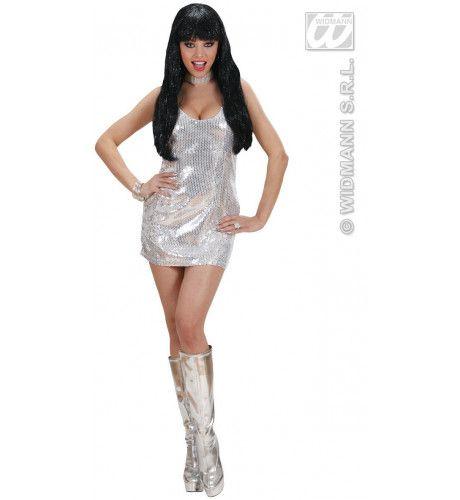 Glimmende Pailletten Jurk Zilver Kostuum Vrouw