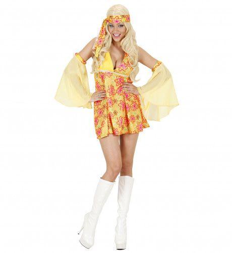 70s Meisje Geel Kostuum Vrouw