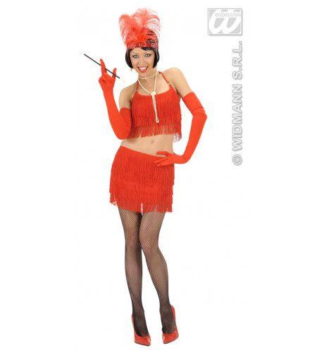 Twintiger Jaren Rok En Top Rood Met Franjes Kostuum Vrouw
