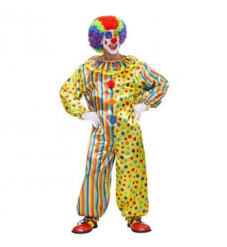 Veelkleurige Clown Jumpsuit Volwassen Kostuum
