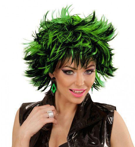 Punk Chick Pruik, Steamy Zwart / Green