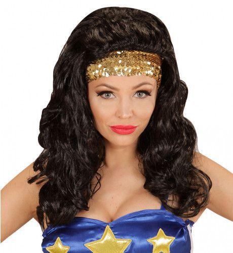 Superheldin Pruik, Super Hero Meisje Met Hoofdband Pailletten
