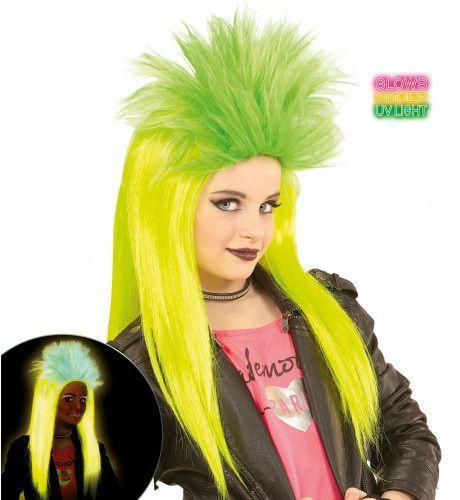 Neon Rock Pruik, Kind Punk Geel / Groen