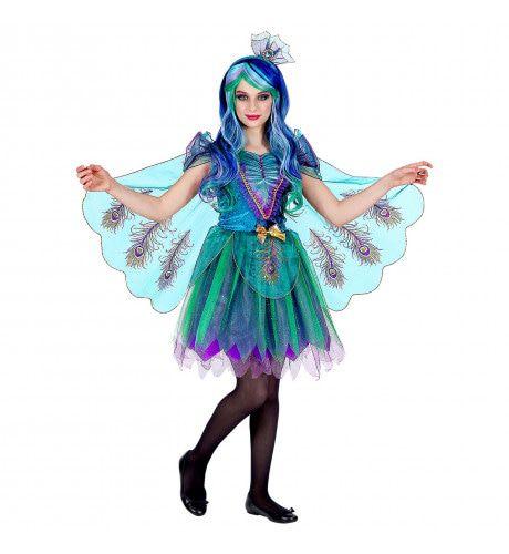 Prachtige Gevleugelde Pauw Meisje Kostuum