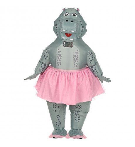 Opblaasbaar Bolle Dikke Hippo Ballerina Nijlpaard Kostuum