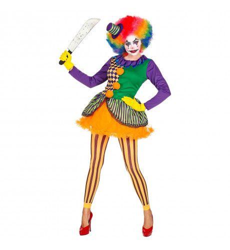 Knettergek Joker Circus Clown Vrouw Kostuum