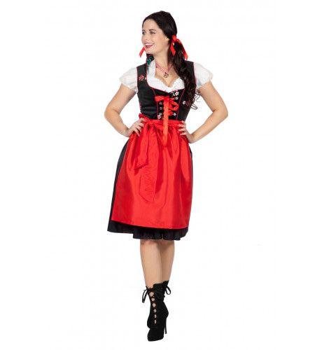 Heidi Edelweiss Oktoberfest Dirndl Zwart Vrouw Kostuum