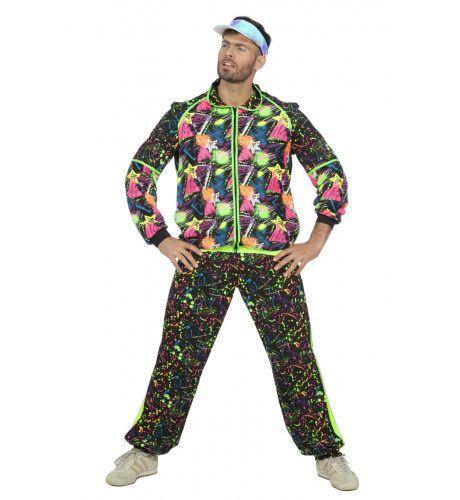 Super Druk Neon Graffiti Jaren 80 Trainingspak Man Kostuum