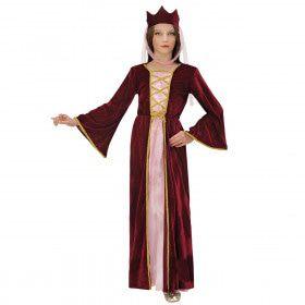 Middeleeuwse Koningin Met Kroontje Kind Meisje Kostuum