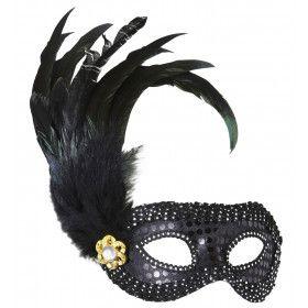 Oogmasker Zwart Met Glimmende Stenen En Veren