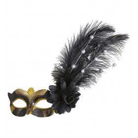 Oogmasker Goud / Zwart Met Roos En Decoratie