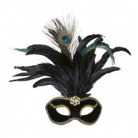 Oogmasker Velours Zwart Met Glimmende Steen En Veren