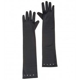 Ms Classy Lips Glamourgirl Handschoenen Satijn, Kind Zwart