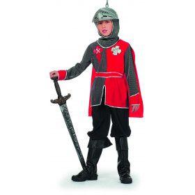 Britse Ridder Arthur Grijs / Rood Jongen Kostuum