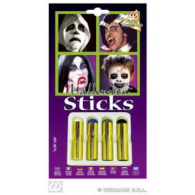 4 Jumbo Aqua Make-Up Sticks Halloween