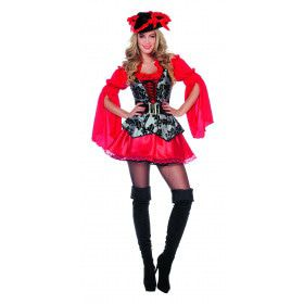Lady Extravaganza Pirate Rood Vrouw Kostuum