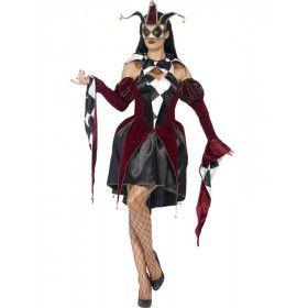 Gothic Venetiaanse Harlekino Vrouw Kostuum