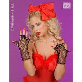 Zwarte Vingerloze Handschoenen, 25 Centimeter